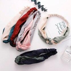 Neue Fashion Einfache Kreuz Bogen Patchwork Frauen Elegante Elastische Stirnband Haar Halter Ornament Bandanas Haar Zubehör Hair