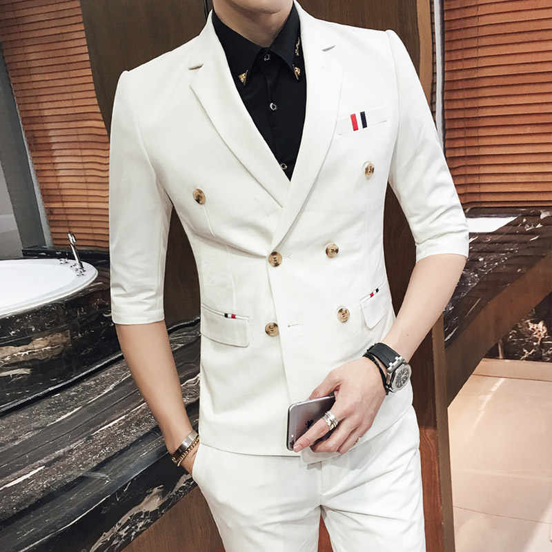2019 Safari Suit 7 Colors Summer Wedding Mens Suits Double Half Sleeve Suit with pant Casual Blazer Jaqueta Masculina Asian Size