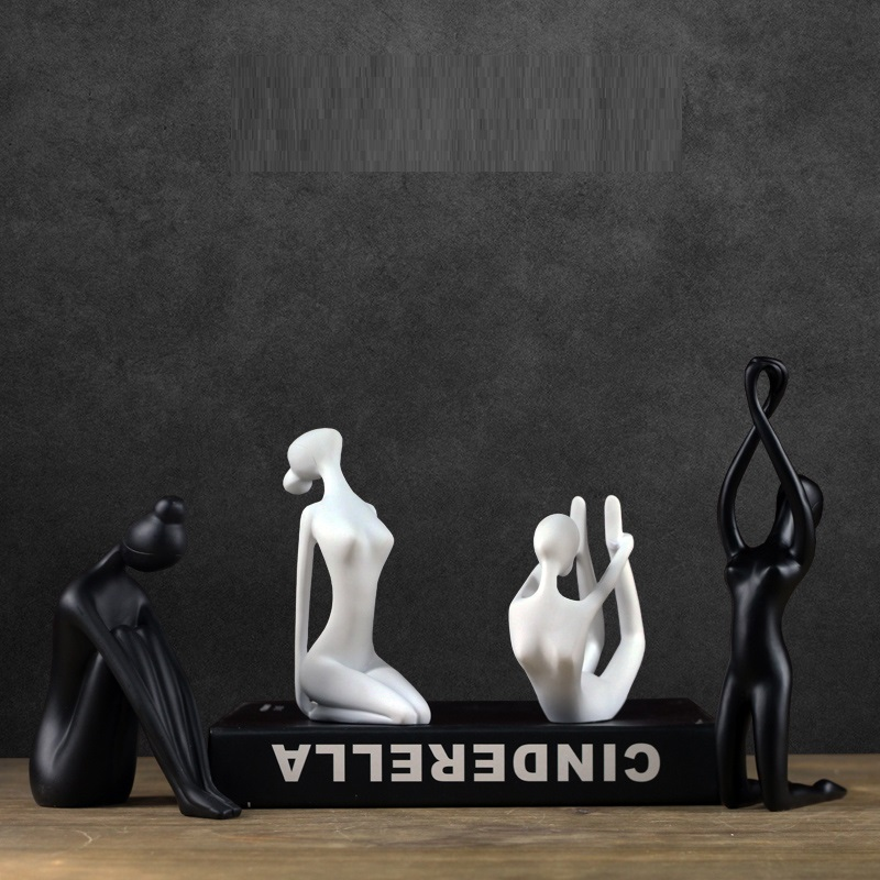 White/Black Sculpture Abstract Nordic Modern Simple Creative Yoga Girl Decoration Resin Crafts Creative Home Furnishing L3152