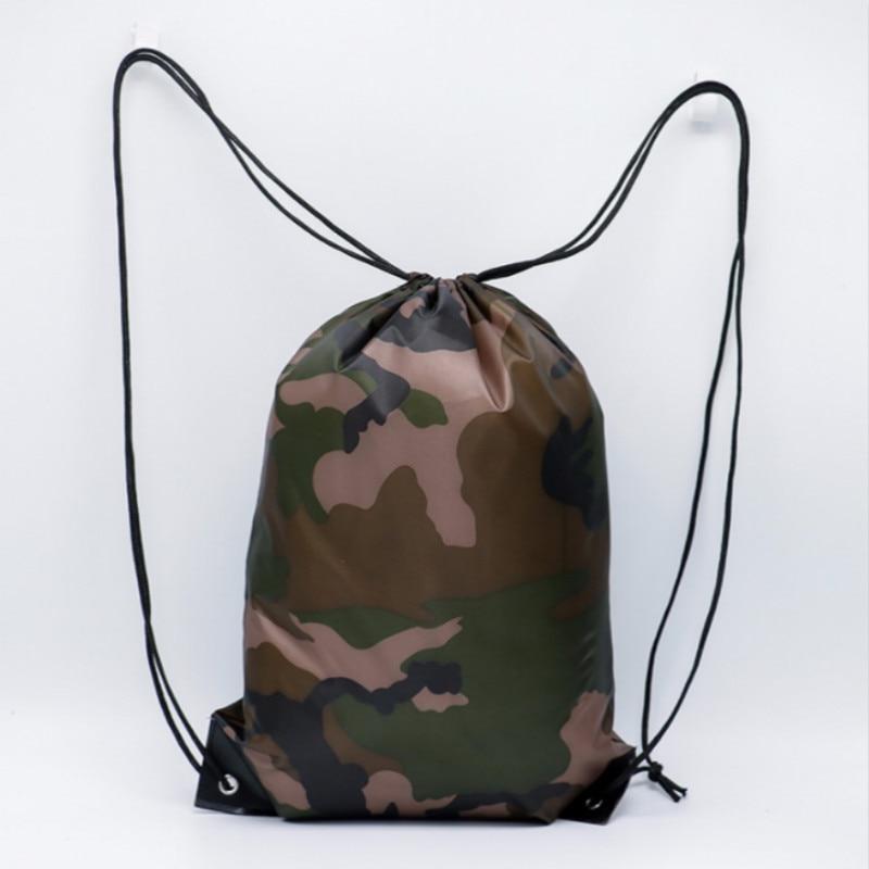 Women Men Sports Backpack Outdoor Travel Riding Hiking Oxford Fashion Camouflage Drawstring Bag