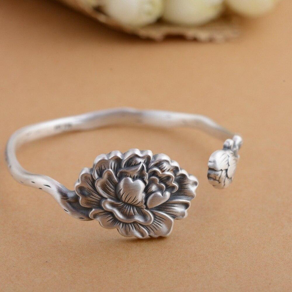 HFANCYW livraison directe Bracelet en argent 990 argent Sterling technologie Antique femmes Lotus fleurs Roses pivoine lys fleurs Bracelet