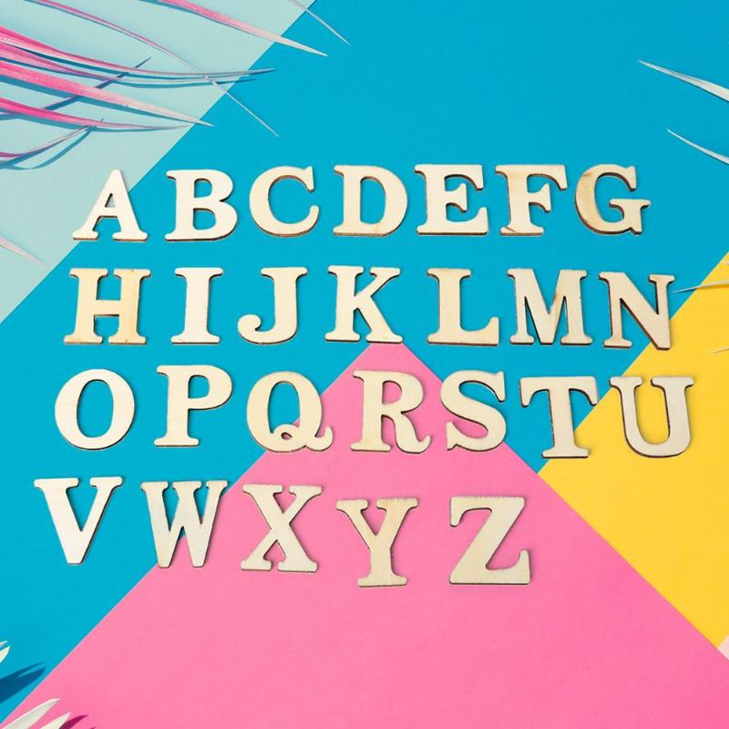Wooden A-Z Letters Alphabet Scrapbooking Art Craft DIY Handcraft Table Scatter Home Decoration Photography Props