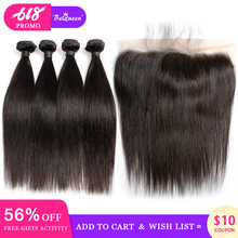 BeQueen Peruvian Hair Weave 4 Bundles With Frontal Straight Wave Human Hair Bundles With Frontal Raw Virgin Human Hair Extension(China)