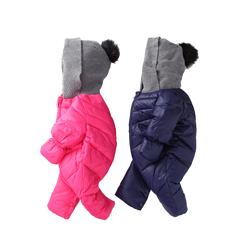 ФОТО Baby Rompers Baby Clothes Baby Down Coat Jacket Parka Winter Warm Jacket Baby Boys Girls Hooded Kids Infant Clothing Jumpsuits