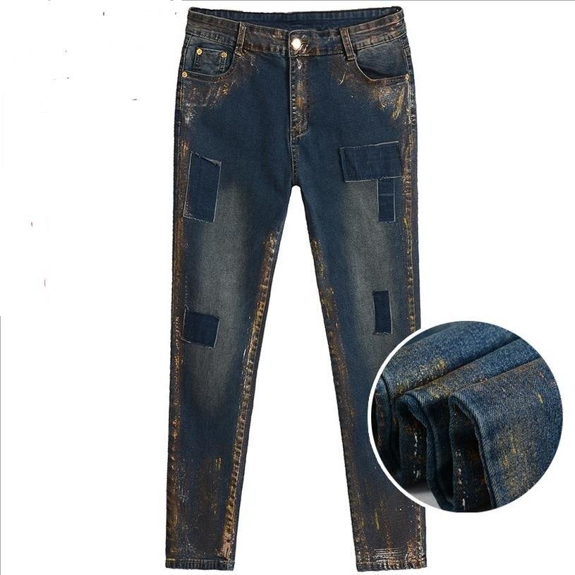 7XL 6XL 5XL large size COTTON jeans 2017 women fatter MM waist Patchwork increase size paint