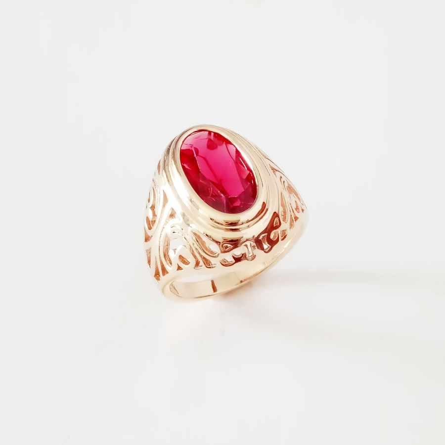 96e27c8de643 2018 обручальные кольца 585 розовое золото Цвет Для женщин кольцо Лидер  продаж милые красные кубический циркон