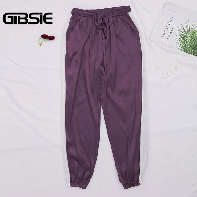 GIBSIE Plus Size Women Clothing 5XL 4XL 3XL Summer Color Block Satin Trousers Women Sweatpants Casual High Waist Harem Pants 2