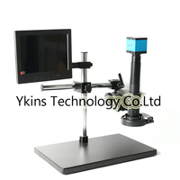 14MP USB Digital Industry Video Microscope Camera Kit + Boom Stereo Bracket + 180X/300X C MOUNT Lens + 144 LED+ 8 LCD Monitor