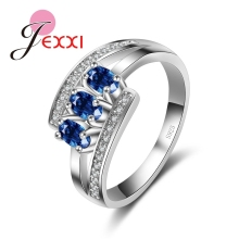 JEXXI Fashion Silver Rings For Women 2016 Trendy Band Jewelry Blue CZ   925 Sterling Silver Engagement Party Ring Bijoux