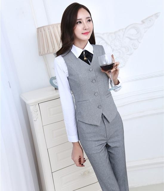 Novidade Cinza Nova Moda Profissionais Terninhos Formal do Negócio Ternos Com Colete + Calça Primavera Outono Mulheres Calças Conjuntos