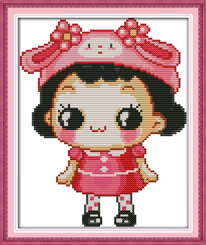 The lovely little girl, counted printed on fabric DMC 14CT 11CT Cross Stitch kits,embroidery needlework Sets, Home Decor