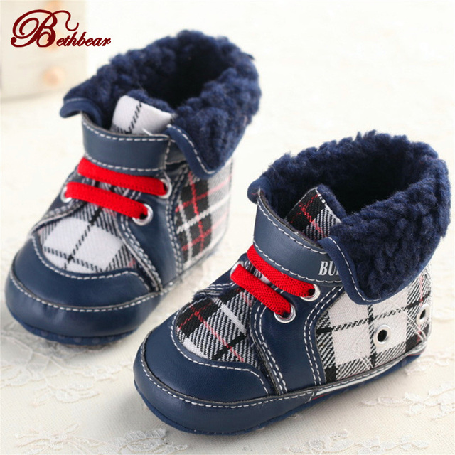 Baby Boy Shoes Brand Baby First Walkers Shoes British Burbry Stripe Grid Canvas Fashion High-End Baby Moccasins Shoes Baby