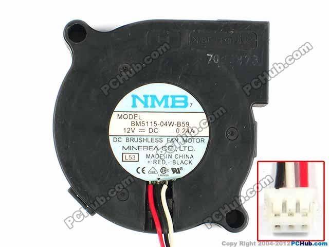 NMB-MAT BM5115-04W-B59, L53, L54 DC 12V 0.24A, 51x51x15mm Server Blower fan