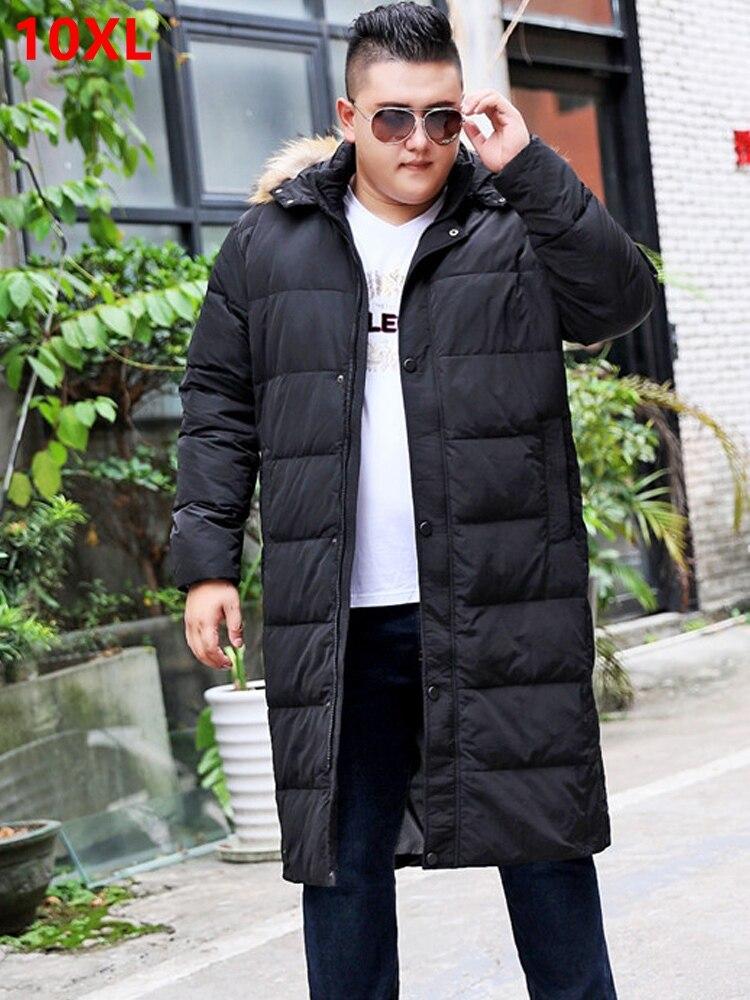 Hiver grande taille col en fourrure grand chaud blanc doudoune long mâle épais genou épaississement avec casquette taille x-long 10XL 9XL 8XL