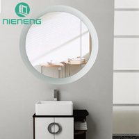 Nieneng Illuminated Demist Lighted Vanity Make up Heated Mirror Bathroom Dimmer Defogger Makeup Round LED Light Mirror ICD90131