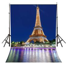 цена на 150x220cm Eiffel Tower Backdrop Brightly Lit Eiffel Tower Photography Background