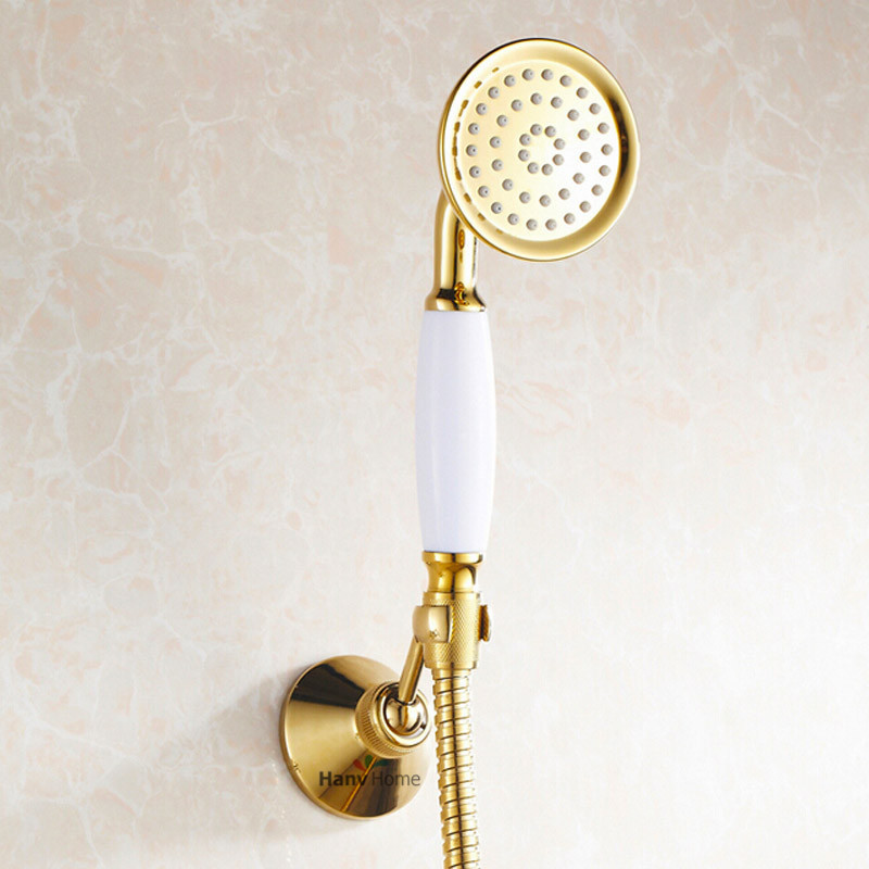 Gold Brass & Ceramics Telephone Hand Held Shower Head Bathroom ...