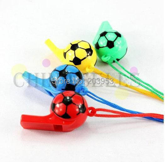 2PCS Colorful Soccer Ball Funny Face Kid Fans Whistle Cheerleading Children Whistles