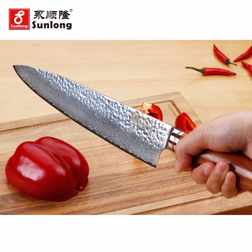 Sunlong 10 pouce Couteau de Chef Gyuto Damas Couteaux de Tranchage en acier VG10 acier core Motif acier Couperet Viande/Légumes couteaux