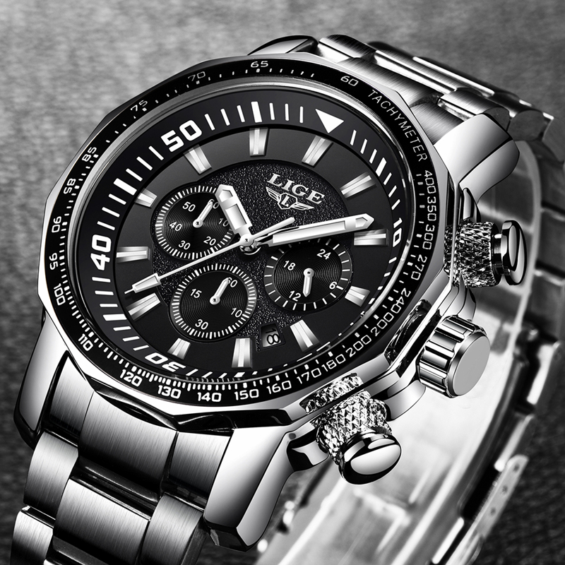 Relogio Masculino 2018 LIGE Mens Watches Top Brand Luxury Fashion Quartz Clock Men's All Steel Waterproof Sport Military Watch