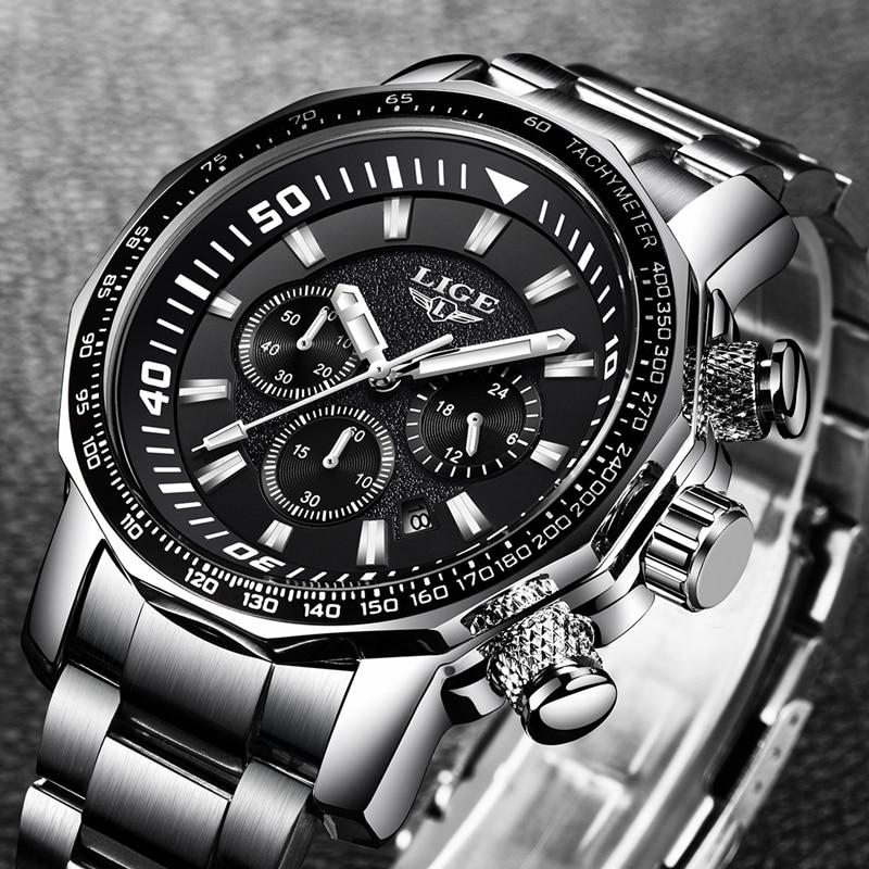Relogio Masculino 2018 LIGE hommes montres Top marque de luxe mode Quartz horloge hommes tout en acier étanche Sport militaire montre