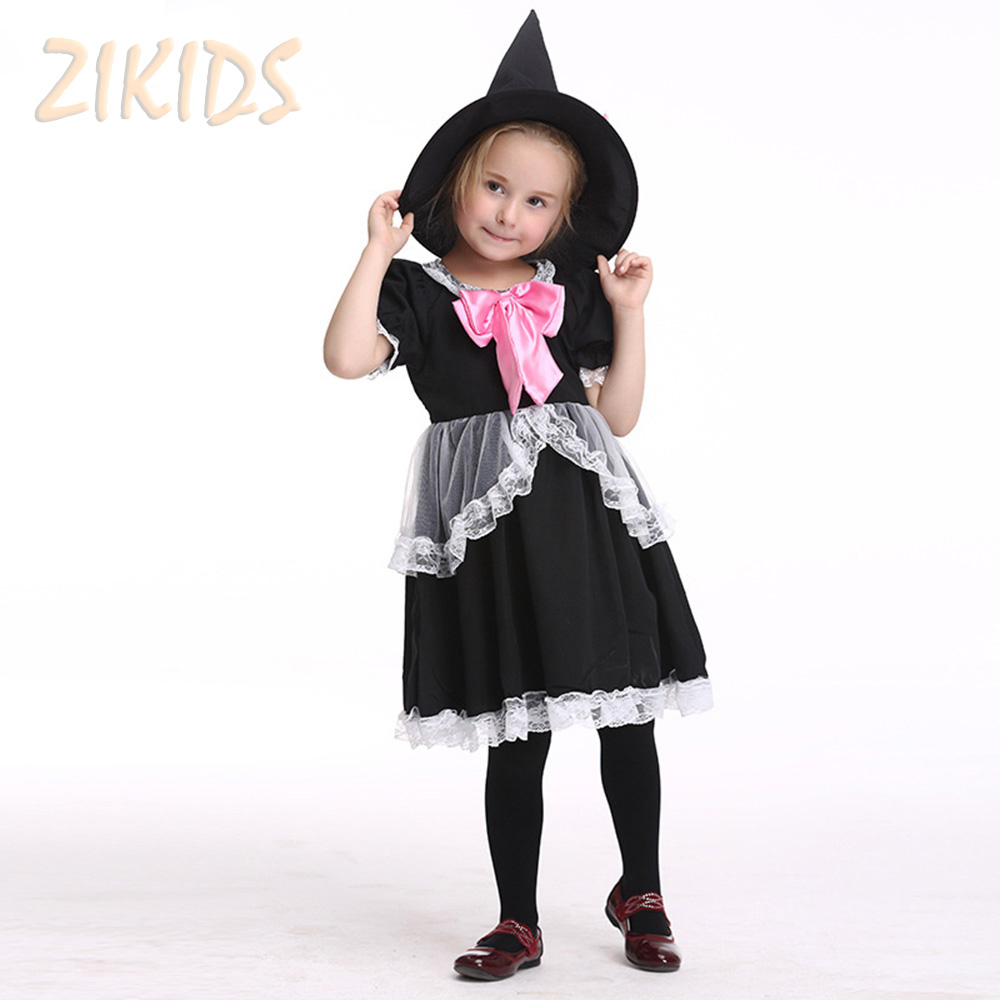 Children Girls Clothing Sets For Halloween Party Cosplay Costume Girl Masquerade Performance Dress Suits 2017 Sale(Dress+Hat) children s clothing bats masquerade party parties dressing up female shaman cloak witch suit clothes suits