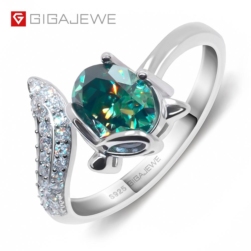 GIGAJEWE 1ct VVS1 Oval Cut Diamond Test Passed Lovely Fox 925 Silver Ring Moissanite Jewelry Love