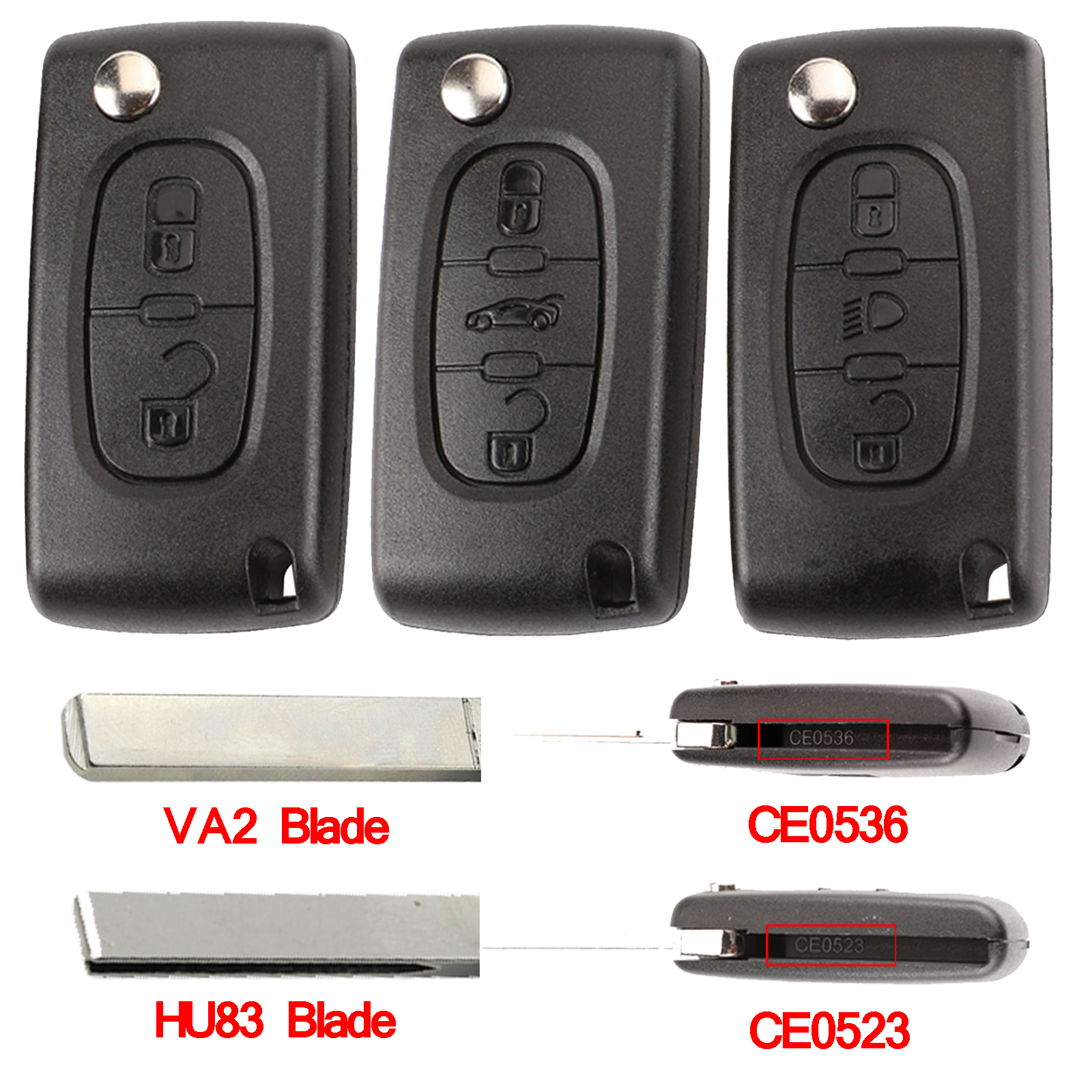Flip Remote Car Key Shell HU83 CE0536/523 For Peugeot 107 207 307 407 308 408 Partner Citroen C3 C4 C5 C6 Berlingo Picasso Xsara(China)