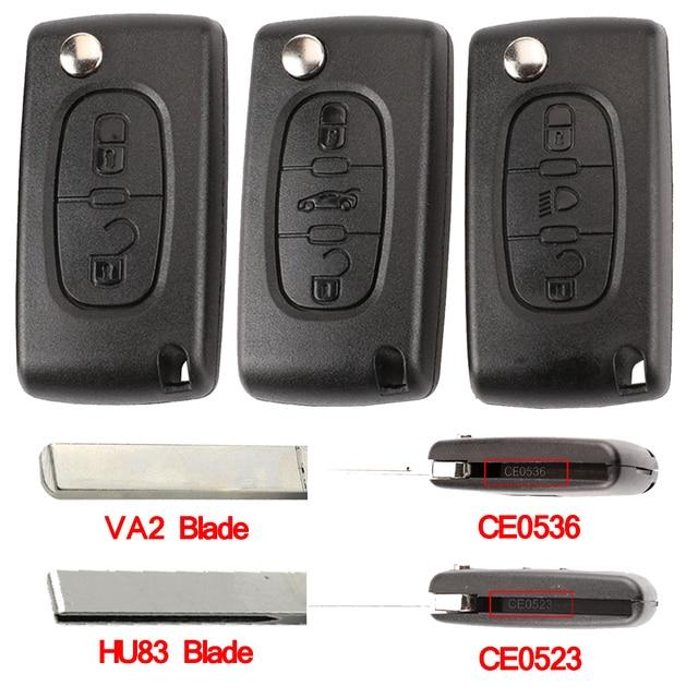 Remoto de la llave del coche HU83 CE0536/523 para Peugeot 107, 207, 307, 407, 308, 408 socio Citroen C3 c4 C5 C6 Berlingo Xsara Picasso