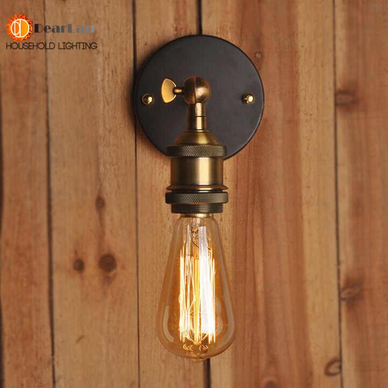 Винтажная железная американская одноголовая настенная лампа Лофт фойе столовая Ретро прикроватные настенные лампы Бесплатная доставка (BD-67)