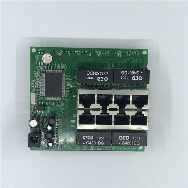 OEM PBC 8 Port Gigabit Ethernet Switch 8 Port mit 8 pin way header 10/100/100 0 m Hub 8way power pin Pcb board OEM schraube loch