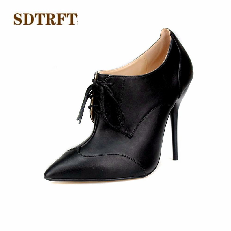 SDTRFT sexy Cosplay Party shoe woman 12cm Thin High-Heeled Pointed Toe Ankle boots Lace-up Ladies wedding pumps Plus:40-46 47 48 plus size light up cosplay party skirt