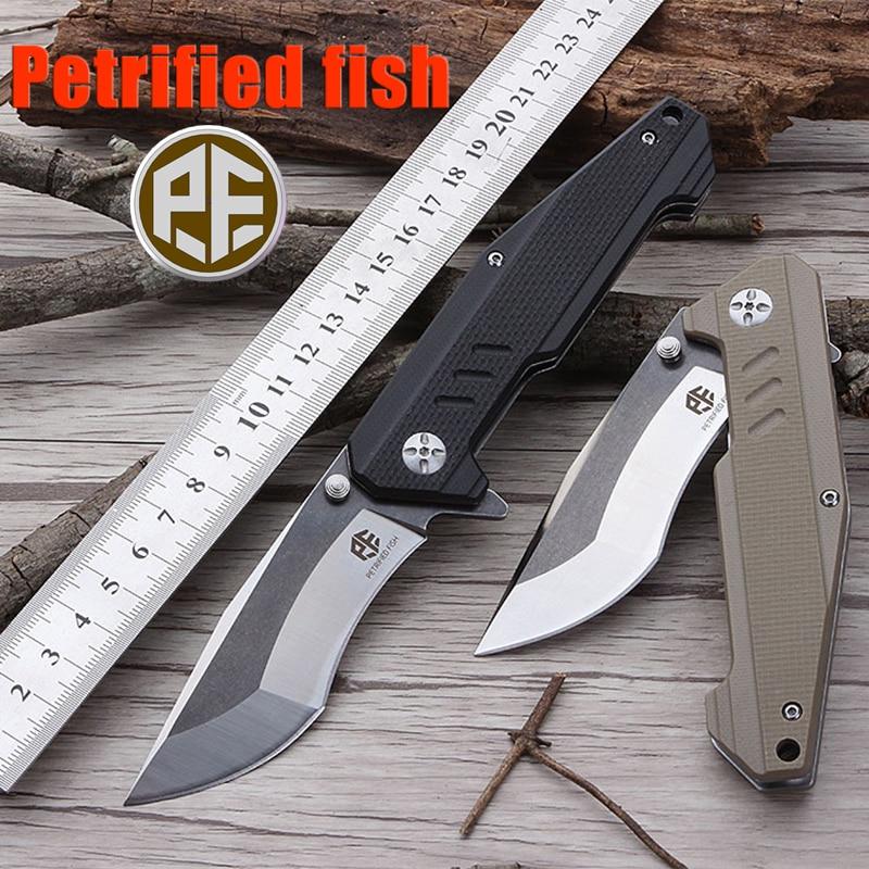 Couteau tactique Original PF712 pour poisson pétrifié 60HRC AUS 8 lame portant couteau pliant G10 poignée couteau de chasse extérieur utilitaire