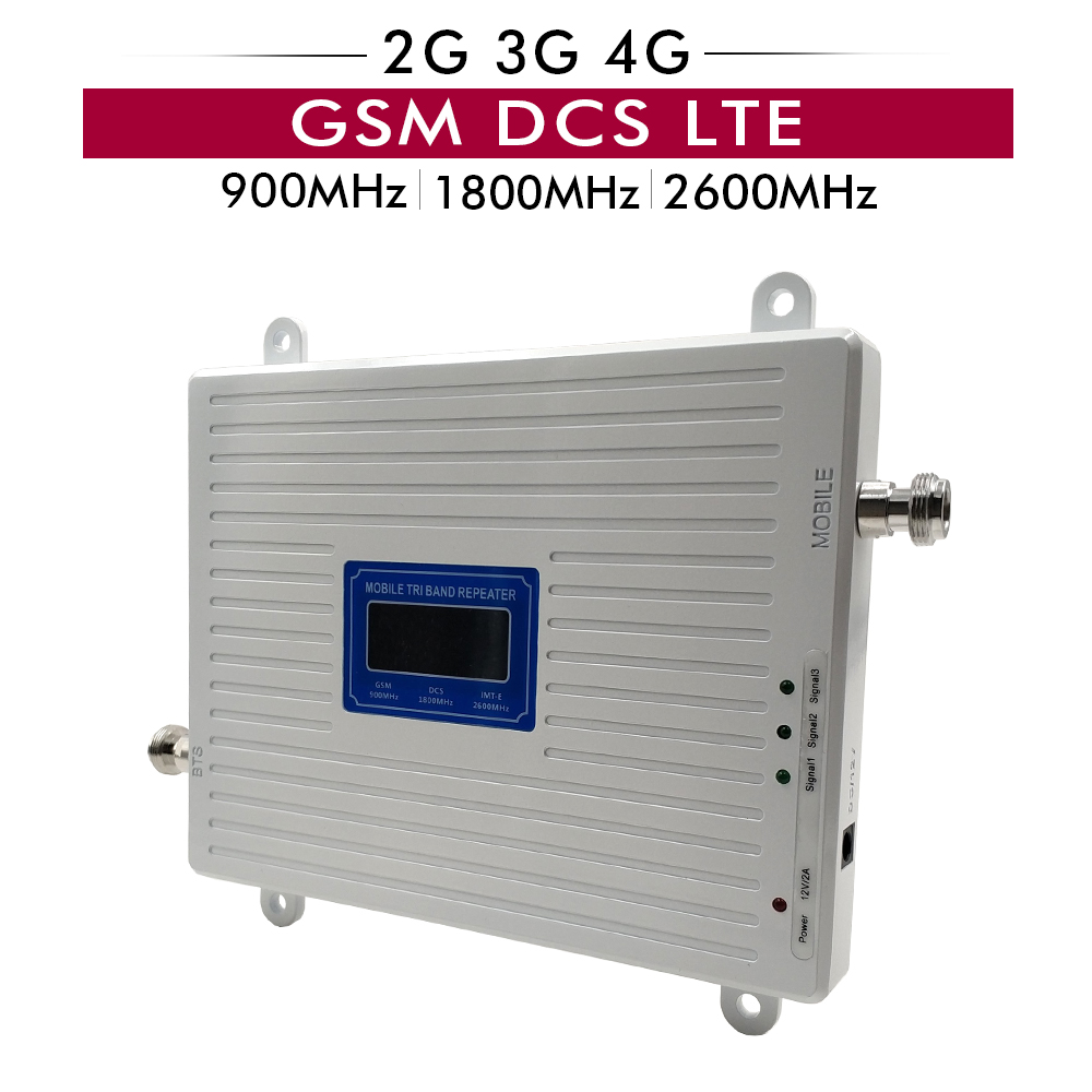 Talk Voice+2G 3G 4G Data Tri Band Signal Repeater GSM 900 DCS 1800 FDD LTE 2600 Mobile Booster Amplifier with LCD Display