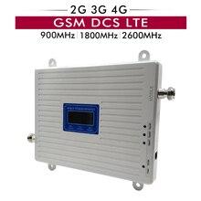 Talk Voice + 2G 3G 4G repetidor de señal de tres bandas de datos GSM 900 DCS 1800 FDD LTE 2600 amplificador de señal móvil con pantalla LCD