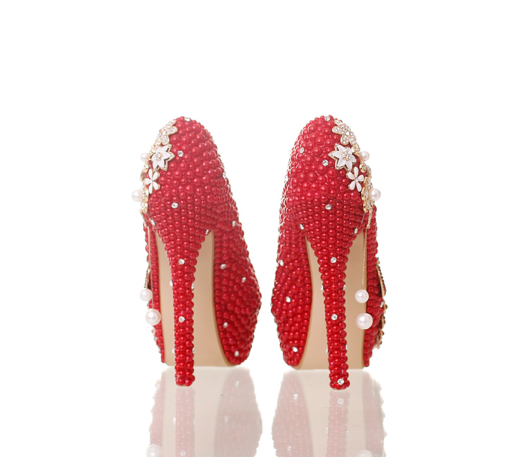 ФОТО 14CM 12CM super high heels red pearls pumps shoes for woman platforms rhinestones party dinner dress pumps shoes womens TG718