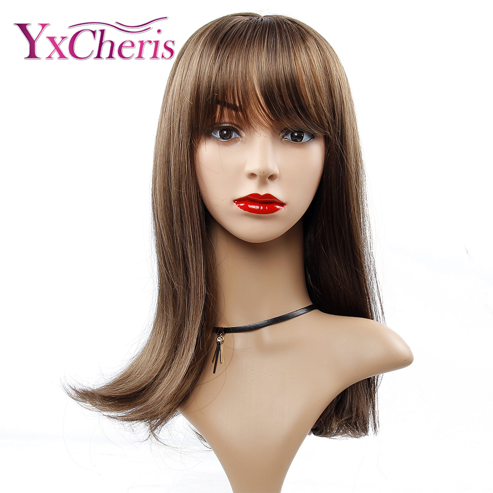 Long Brown Wigs For Women Heat Resistant Fiber Natural Hair Wig Synthetic Cosplay Bangs Wigs Female