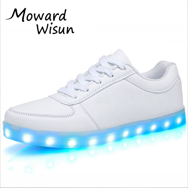Fashion Usb Glowing Shoes Luminous Sneakers for Kids Boys LED Shoes with Light Up sole Krasovki Tenis Feminino LED Slippers 30 wholesale cheap lights up led luminous casual shoes high glowing with charge simulation sole for women