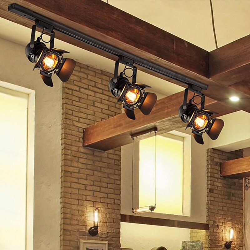 Vintage E27 reflektor szynowy Loft przemysłowy reflektor szyna oświetleniowa czarny reflektor do drzwi do stodoły sklep odzieżowy sklep oświetleniowy