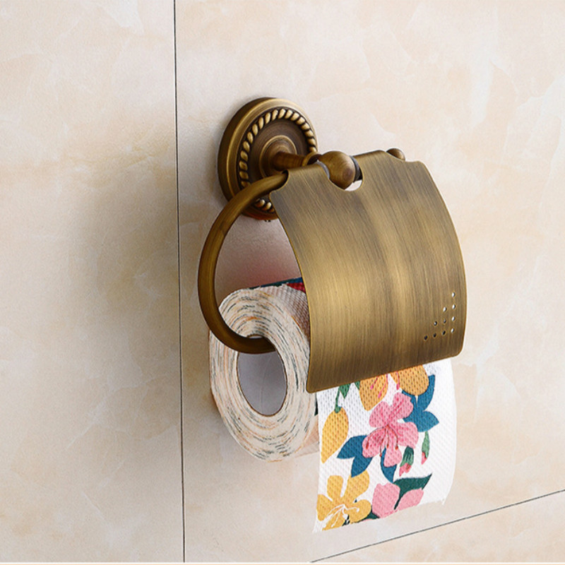 ФОТО  Wall Mounted Paper Holder Antique Brass Finish Bathroom Accessories Hardwares Paper Shelf  FY801-2