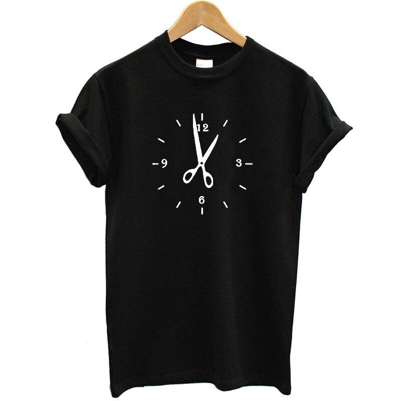 New Stylish Hair Salon Clock Fashion T Shirts Women Cotton O-Neck Tops Loose Short Sleeve Women T-shirt Streetwear Clothing