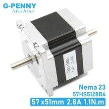 Nema23 двойной вал шаговый двигатель 1.1Nm 2.8A 6,35 мм двойной вал 157Oz-in 57x51 мм шаговый двигатель для 3D принтера или станка с ЧПУ