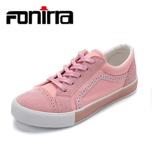 FONIRRA Women Pink Canvas Shoes 2017 Autumn Fashion Lace Up Women Vulcanize Shoes for Ladies Student's Casual Flat Shoes 632