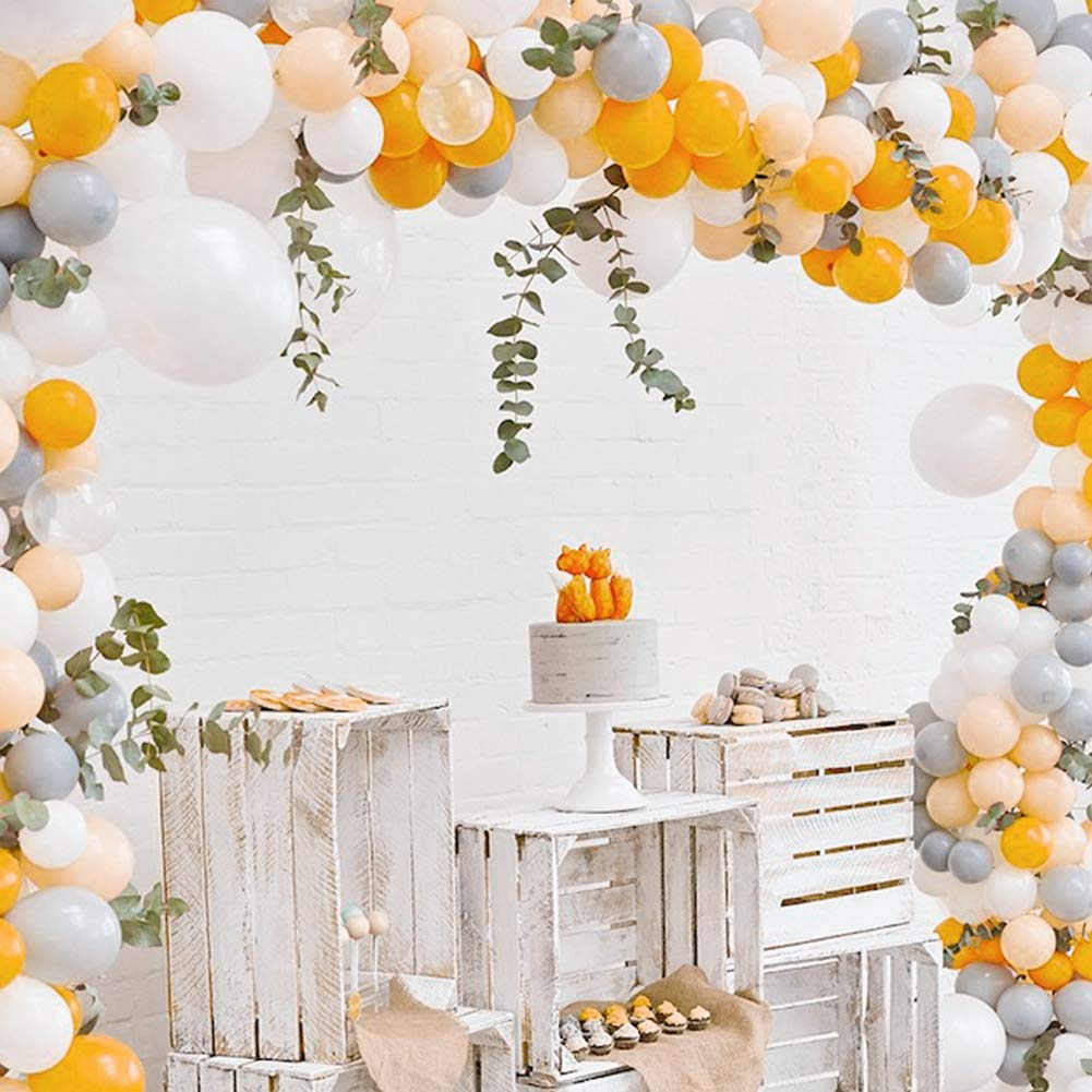 METABLE 100 pcs Matte Balloons Pack of Gray Balloon Orange, White Peach Helium and Wedding12/10inch