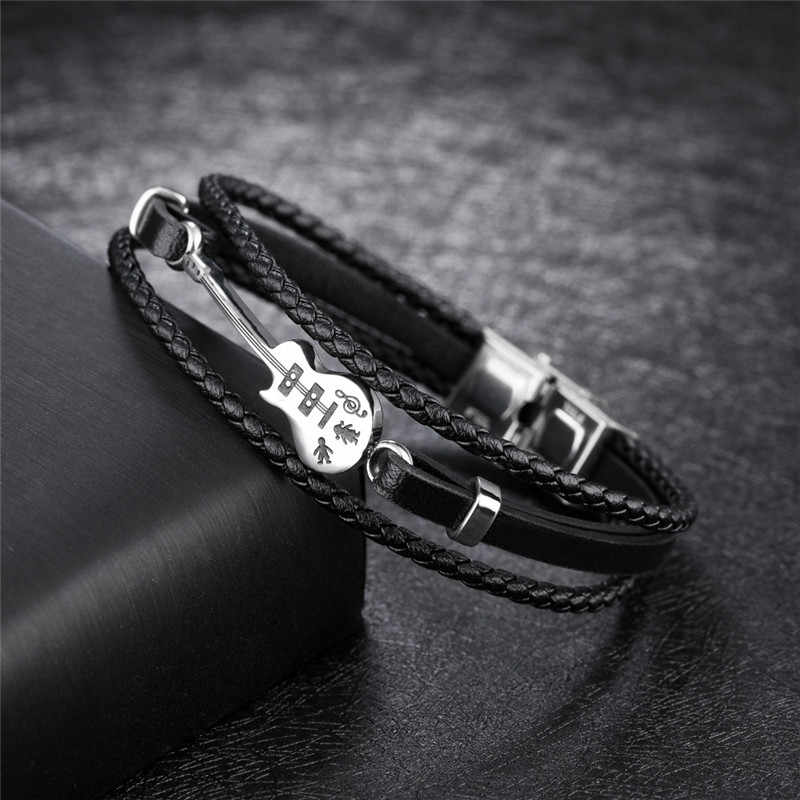 ZORCVENS New Fashion Multilayer Genuine Leather Braided Punk Vinatge Cool Stainless Steel Guitar Bracelet Bangles Gift