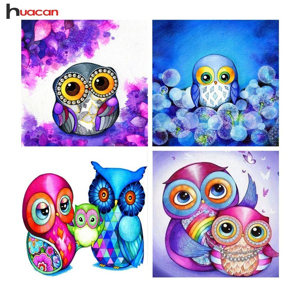 HUACAN DIY 5D Owl Diamond Embroidery Children's Room Decor Full Square Cartoon Icon Diamond Painting Cross Stitch Set F1636