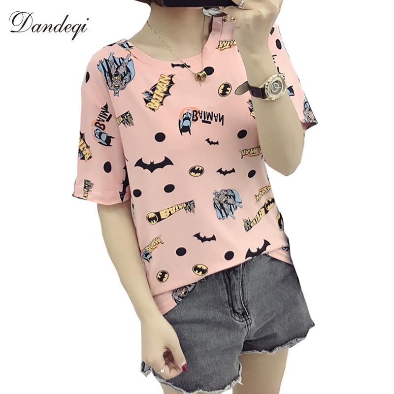 Herfst Zomer Vrouwen Plus Size Tops Kawaii Batman Print Cartoon Anime T-shirts Damesmode t-shirt Camisetas Femininas Tees