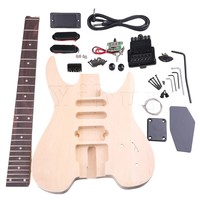 Yibuy Basswood Maple WT 2 6 String Electric Guitars DIY Kit Body Pickguard Humbucker Pickup Bridge Tuning Pegs Neck Knob for Gui