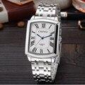 Chenxi roma relojes de pulsera rectángulo marcado cuarzo de acero de plata de la boda de lujo reloj de pulsera para hombres mujeres masculinas hembra 079a