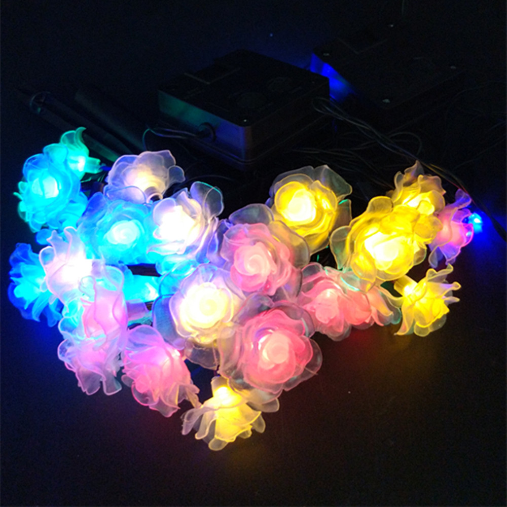 YIYANG LED 10M Solar Wedding Rose Garland Strings Lights 60 Roses Waterproof Home Garden Lamp Boda Rosas Luces Mariage Lumieres